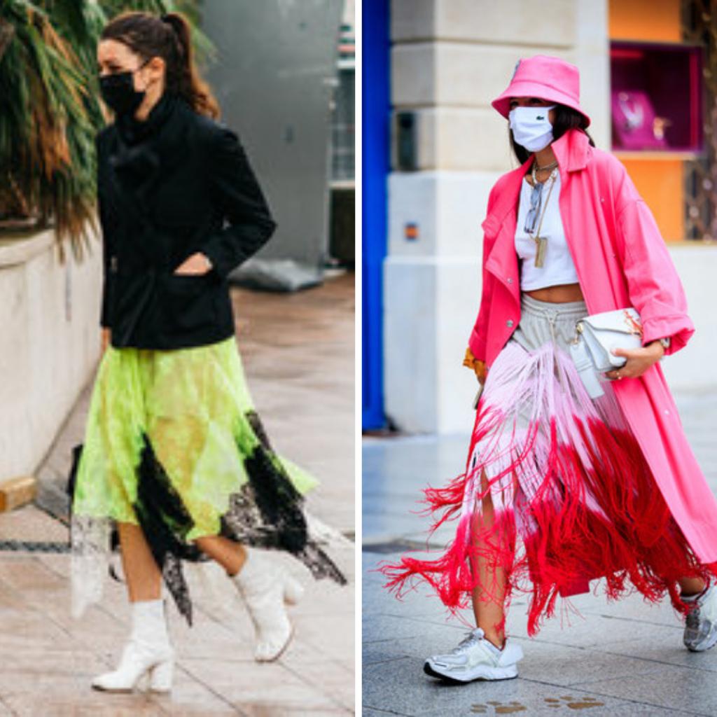 юбка,стильная,яркая,розовая,зеленая,бахрома,развевается