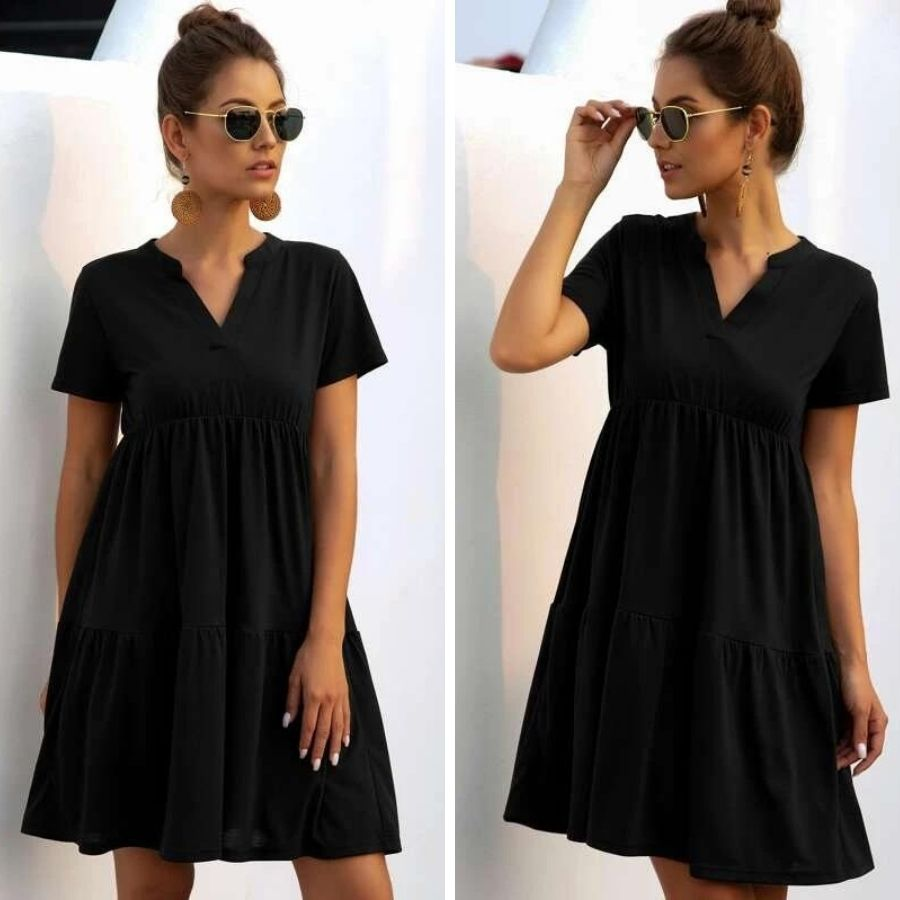 короткое черное девушка платье очки